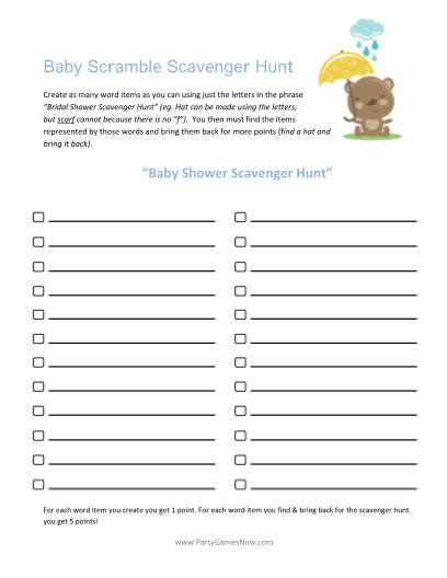 baby scrabble scavenger hunt printable baby shower games