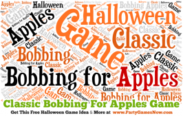 Great Halloween Game Idea: Classic Bobbing for Apples from PartyGamesNow.com. Worth checking out. They have tons of free printable Halloween games and ideas, as well as game ideas and activities for almost every other holiday