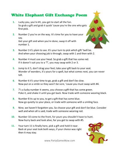 White Elephant Gift Exchange Poem Game Christmas Gift Exchange Ideas Printable Christmas Games