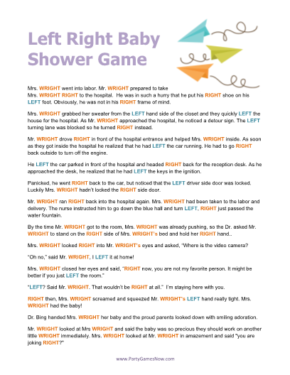 baby shower left right game printable baby shower games