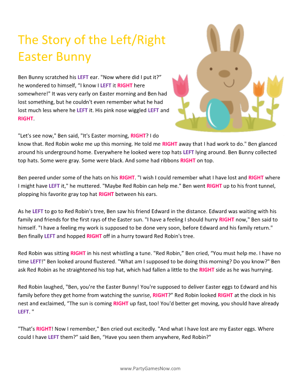 Easter Bunny Left Right Story Easter Games For Adults Easter Games For Kids Printable Easter