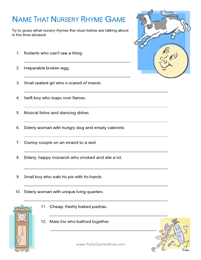 name that nursery rhyme quiz game printable baby shower games