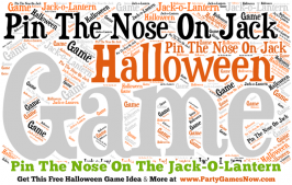 Great Halloween Game Idea: Pin the Nose On Jack! from PartyGamesNow.com. Worth checking out. They have tons of free printable Halloween games and ideas, as well as game ideas and activities for almost every other holiday