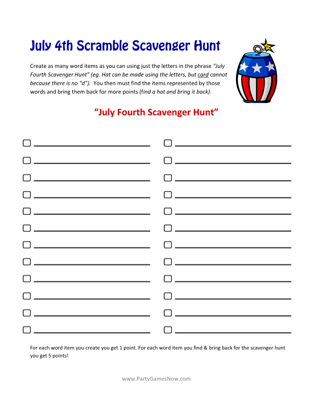Fourth of July Scramble Scavenger Hunt - Printable 4th of July Games