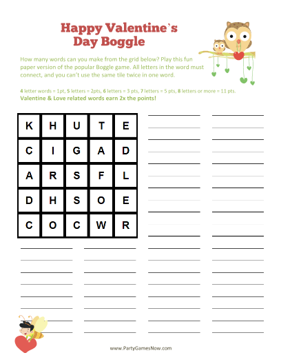 printable valentines day boggle game - Valentines Day Game